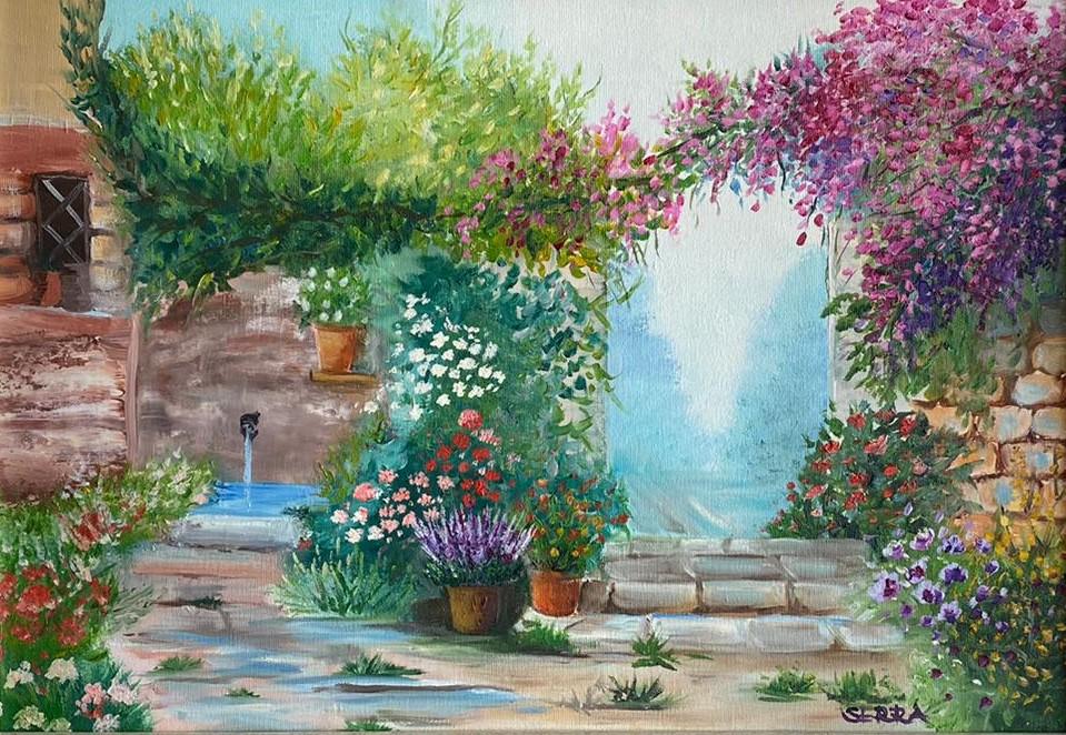 Serra Koz, Çiçek Bahçesi, Tuval üzeri Yağlı Boya 35x50, 2010, 550 TL