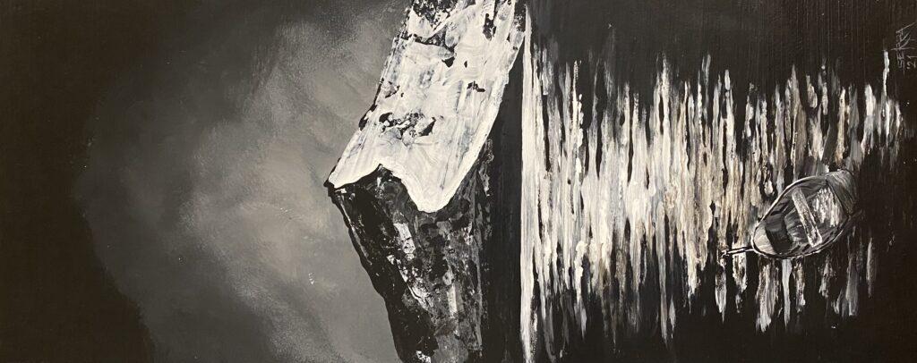 Serra Koz, Yalnız Ölüm, 43x17, Karton üzeri akrilik, 2021