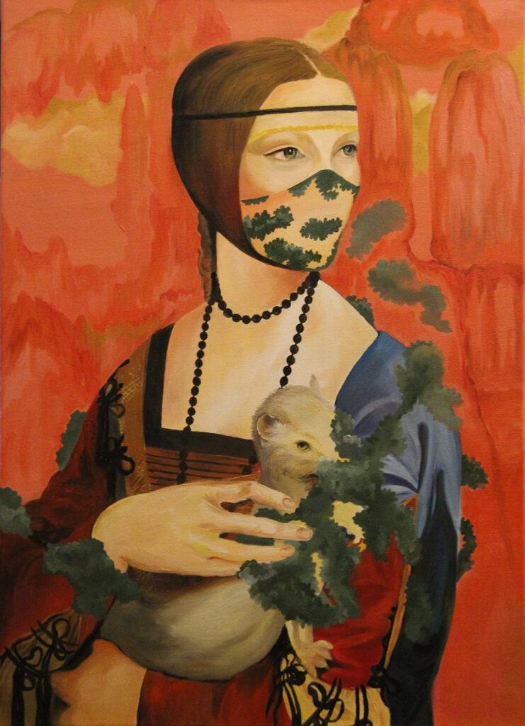 Distopya Karantina İstila ve Çürüme, The Lady With An Ermine, Tuval Üzerine Yağlıboya, 50x70cm, 2021